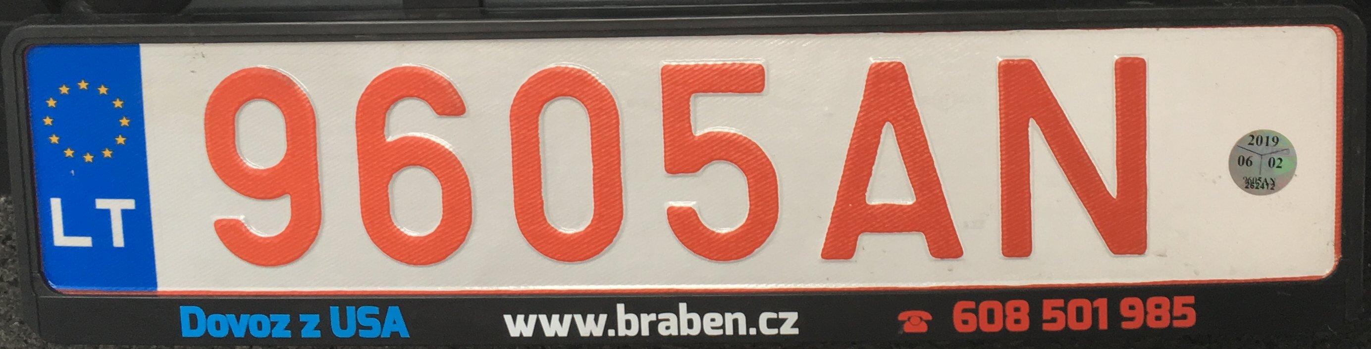 Registrační značka Litva - exportní, foto: www.podalnici.cz