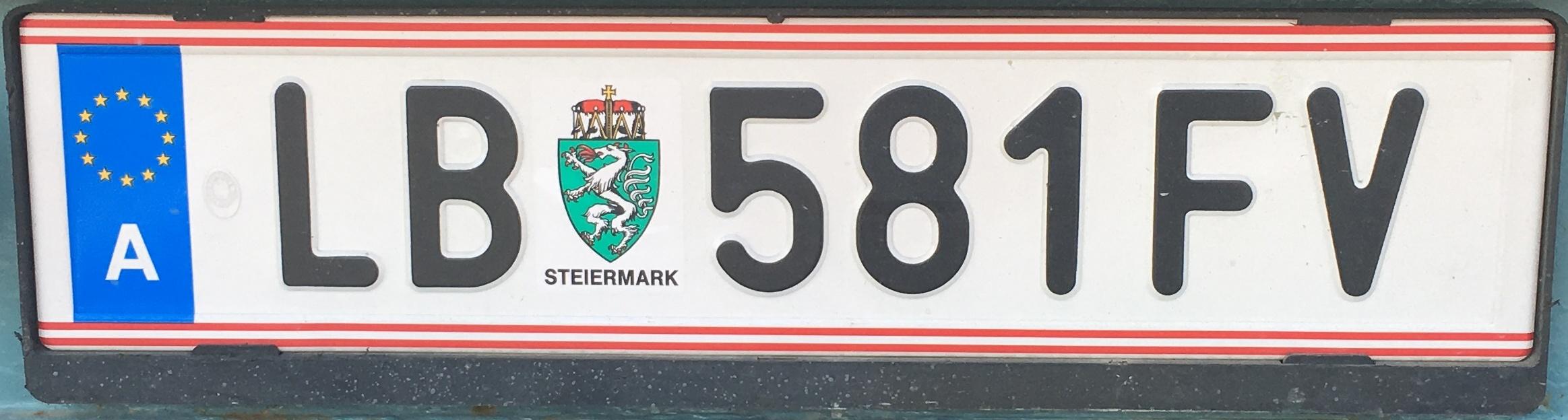 Registrační značka Rakousko - LB - Leibnitz, foto: www.podalnici.cz