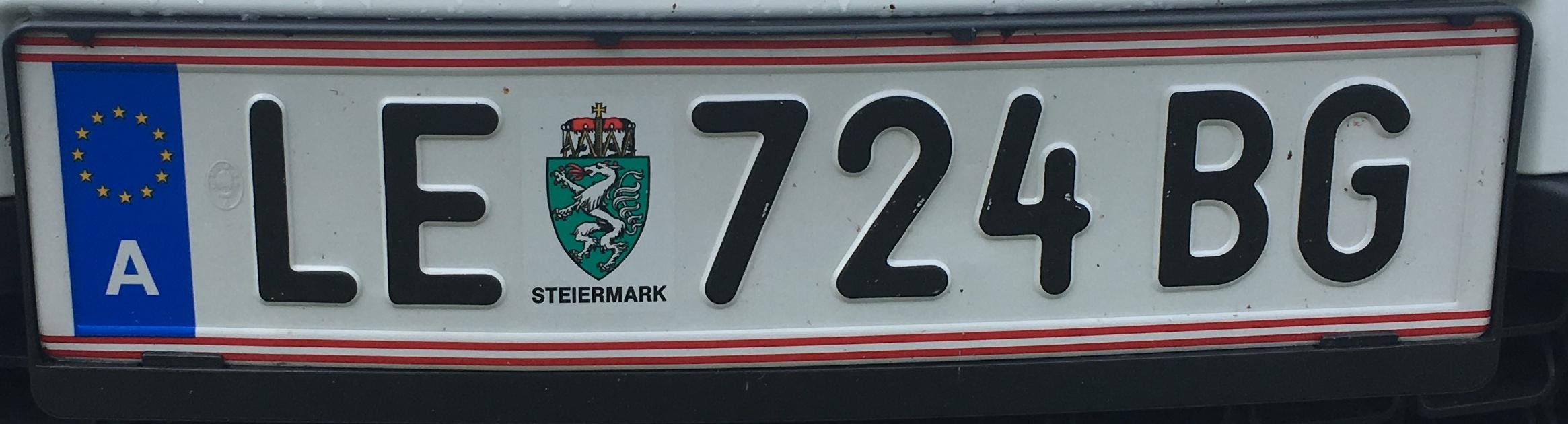 Registrační značka Rakousko - LE - město Leoben, foto: www.podalnici.cz