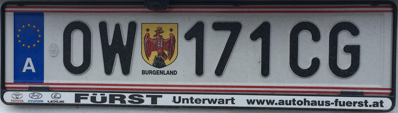 Registrační značka Rakousko - OW - Oberwart, foto: www.podalnici.cz