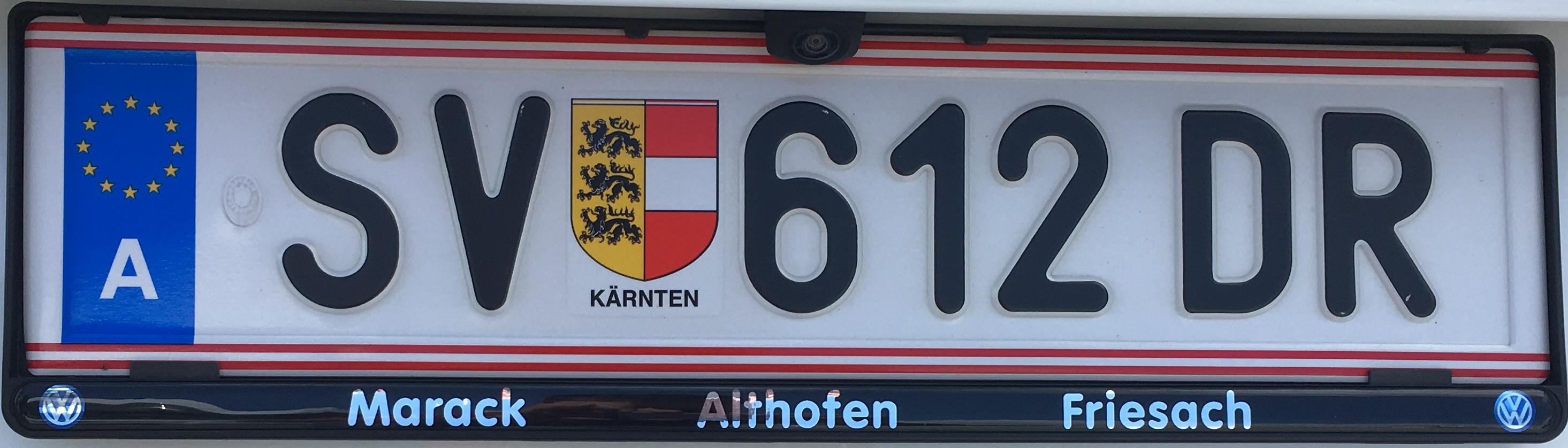 Registrační značka Rakousko - SV - St. Veit an der Glan, foto: www.podalnici.cz