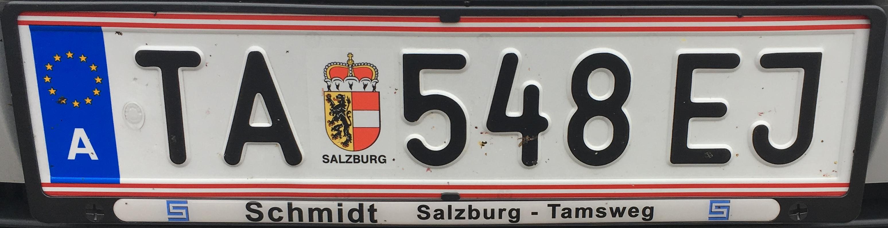 Registrační značka Rakousko - TA - Tamsweg, foto: www.podalnici.cz