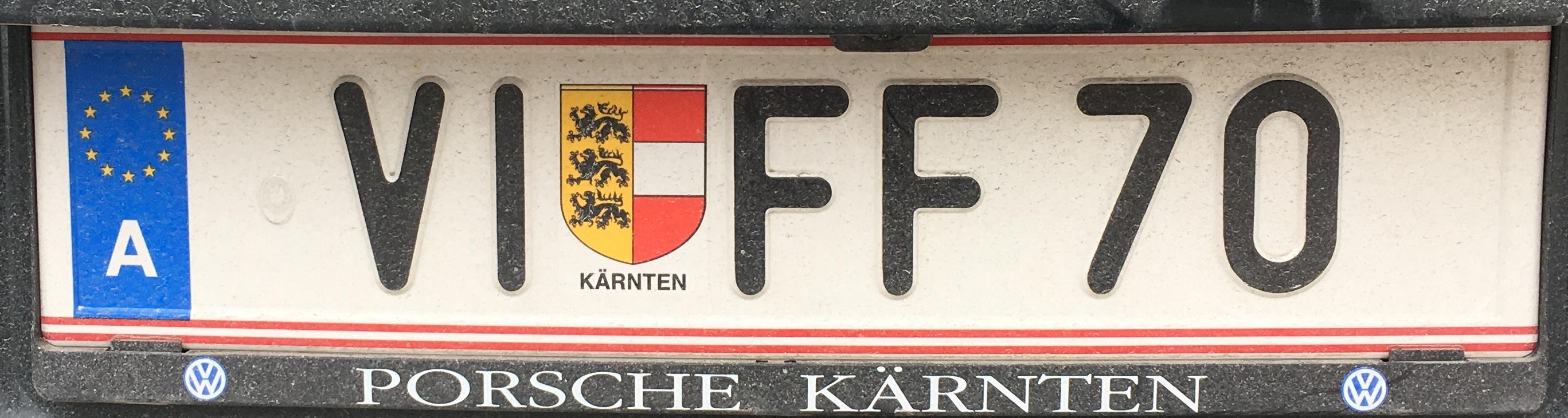 Registrační značka Rakousko - VI - město Villach, foto: www.podalnici.cz
