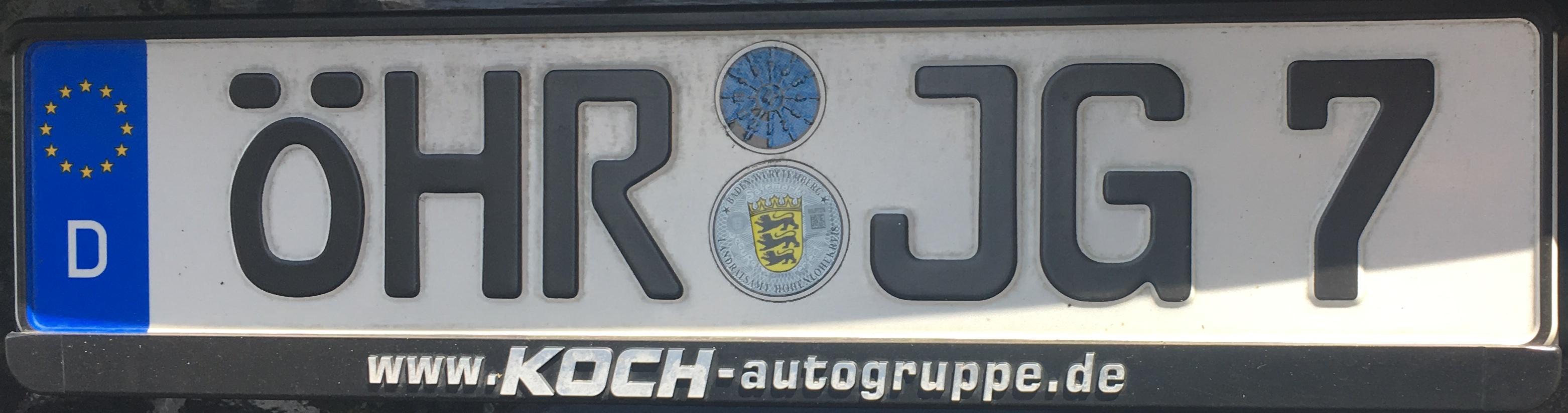 Registrační značka Německo - ÖHR - Öhringen (KÜN), foto: www.podalnici.cz