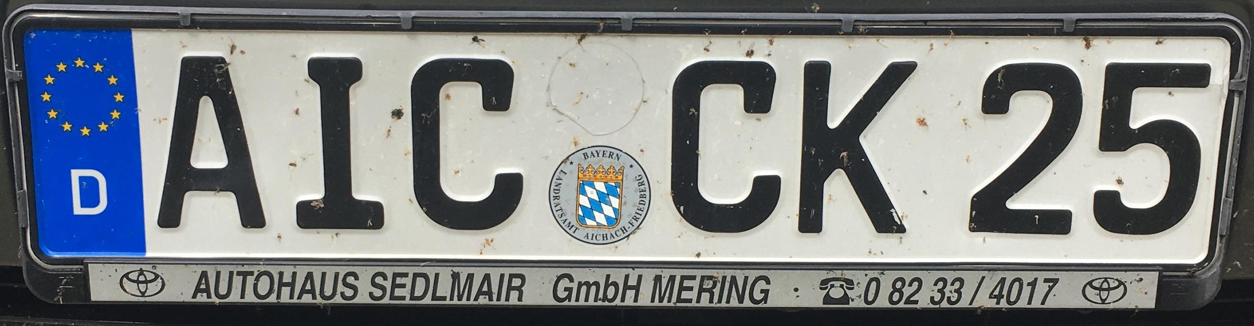 Registrační značka Německo - AIC - okres Aichach-Freidberg, foto: www.podalnici.cz