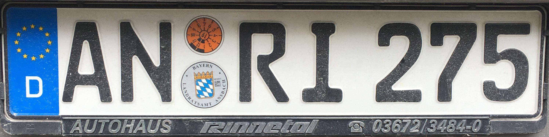 Registrační značka Německo - AN - Ansbach, foto: www.podalnici.cz