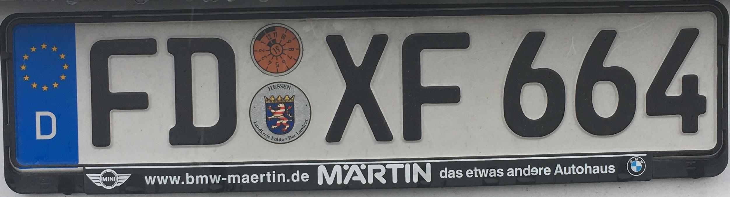 Registrační značka Německo - FD – Fulda, foto: www.podalnici.cz
