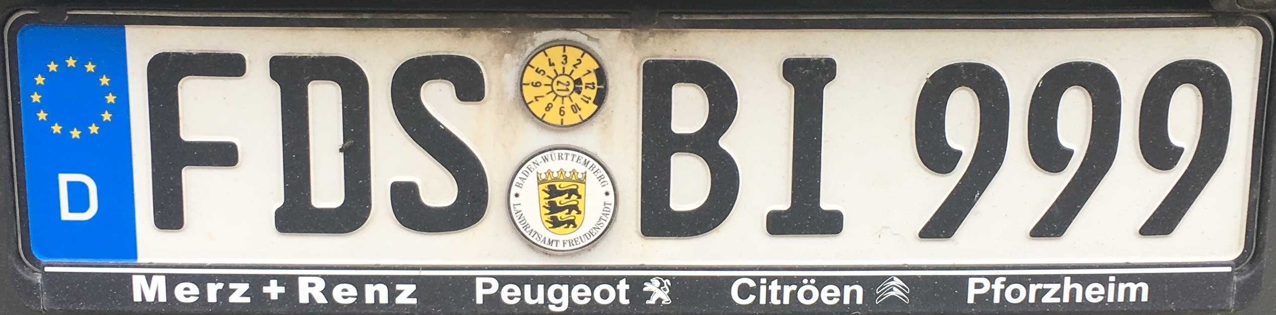 Registrační značka Německo - FDS - Freudenstadt, foto: www.podalnici.cz