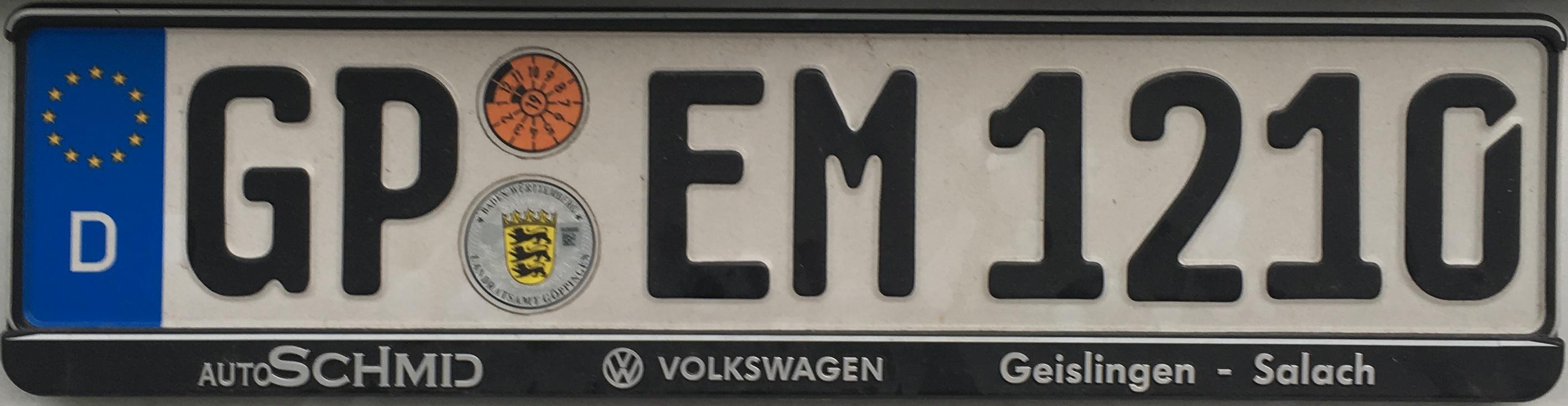 Registrační značka Německo - GP - okres Göppingen, foto: www.podalnici.cz