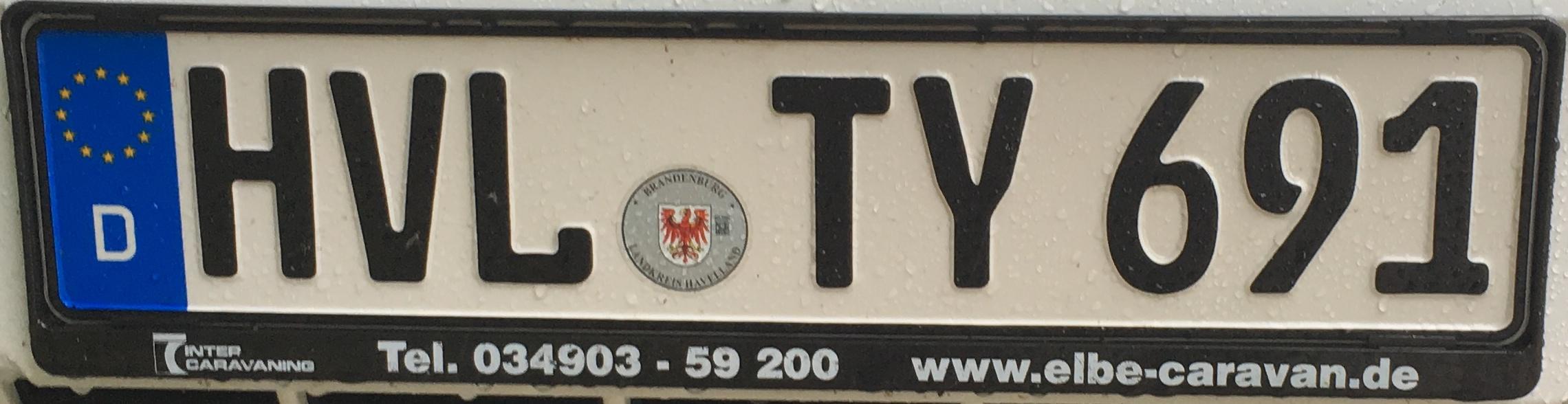 Registrační značka Německo - HVL - Havelland, foto: www.podalnici.cz