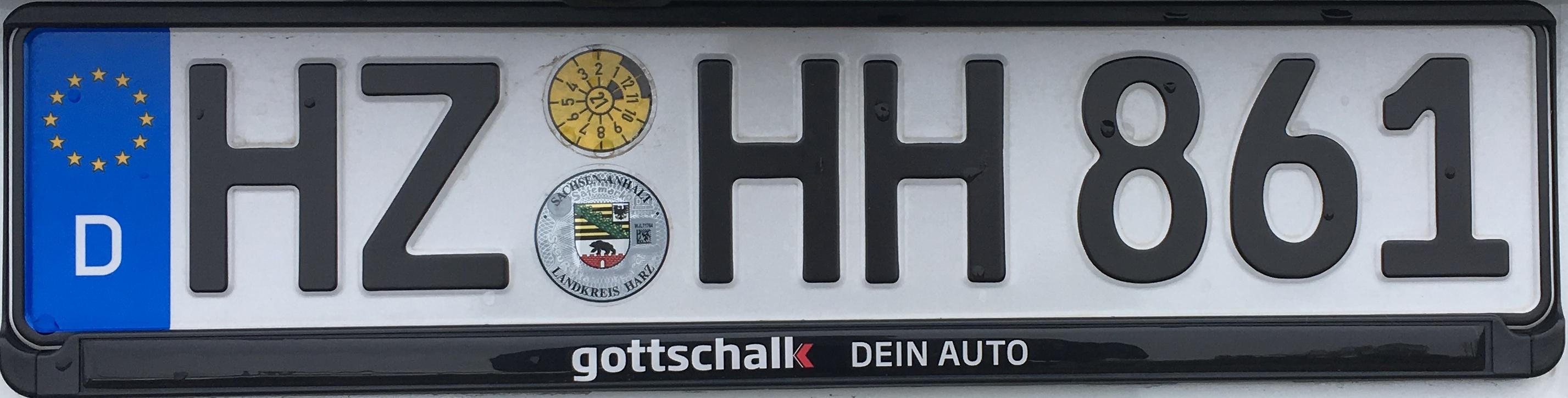 Registrační značka Německo - HZ - Harz, foto: www.podalnici.cz