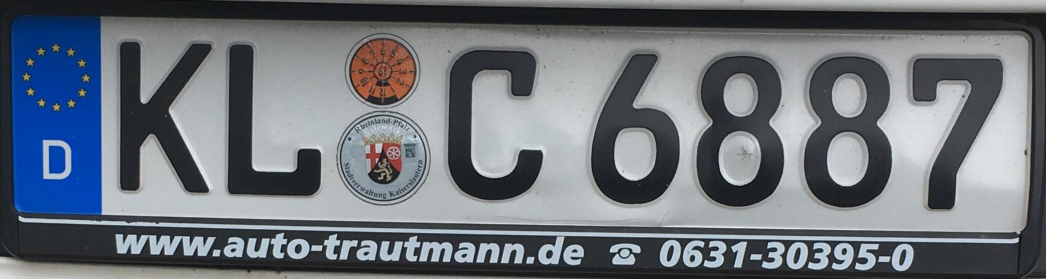Registrační značka Německo - KL - Kaiserslautern, foto: www.podalnici.cz