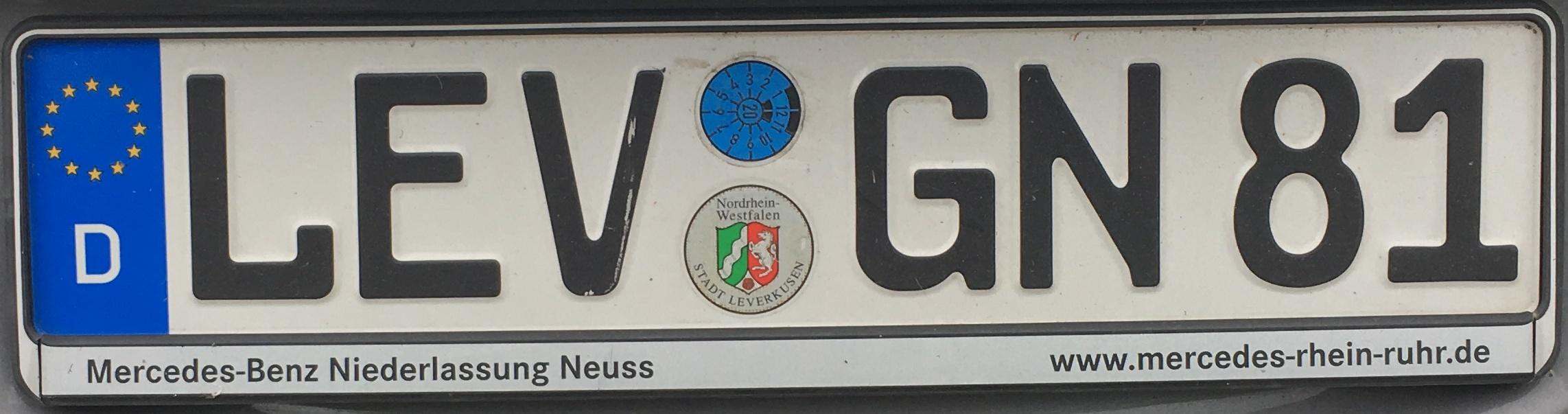 Registrační značka Německo - LEV - město Leverkusene, foto: www.podalnici.cz