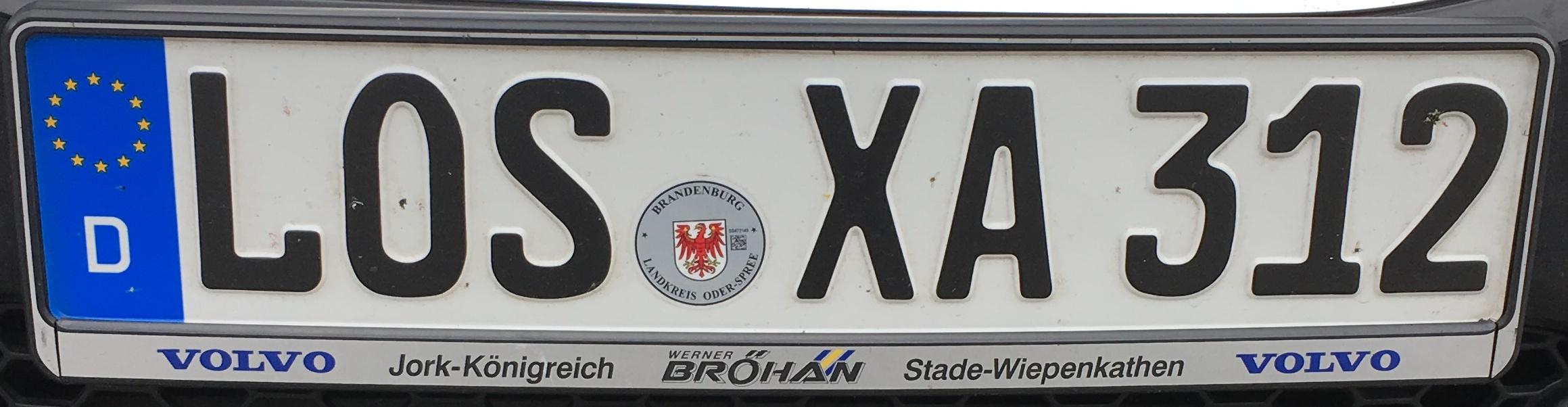 Registrační značka Německo - LOS - Oder-Spree, foto: www.podalnici.cz