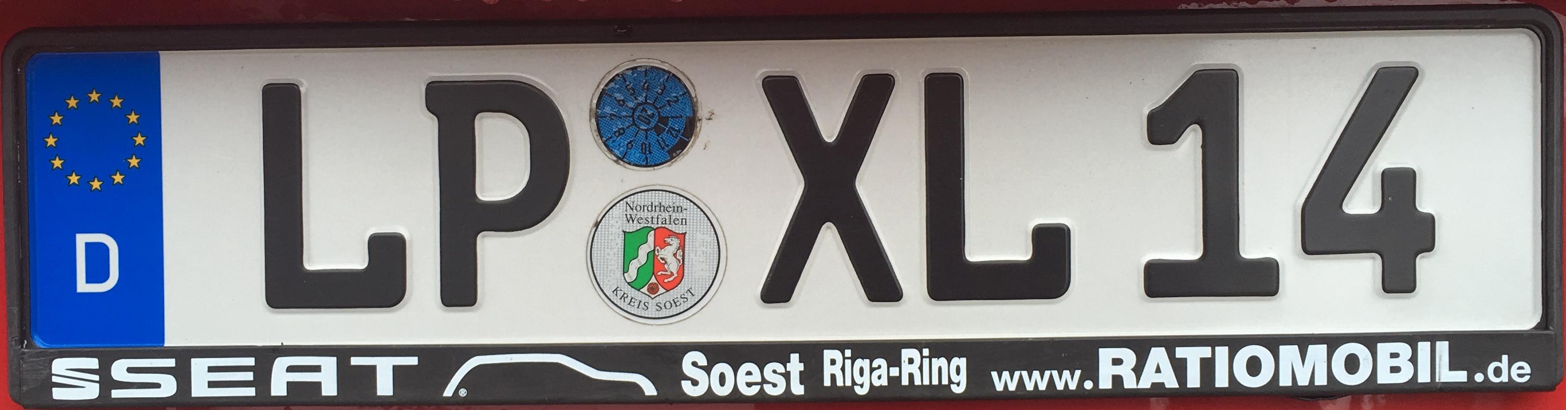 Registrační značka Německo - LP - Lippstadt (SO), foto: www.podalnici.cz