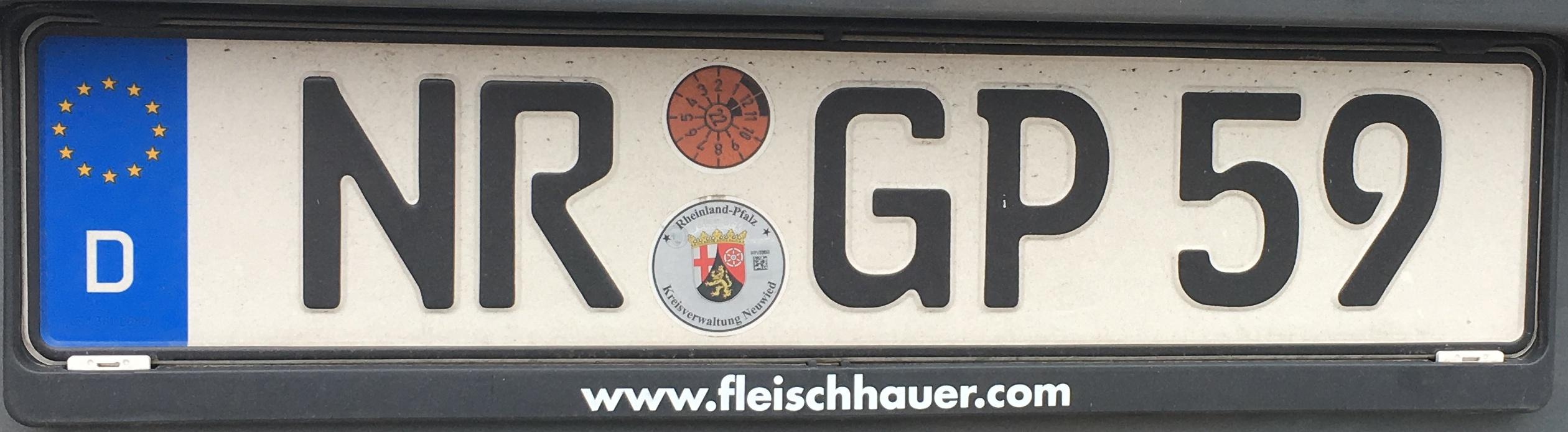 Registrační značka Německo - NR - Neuwied, foto: www.podalnici.cz