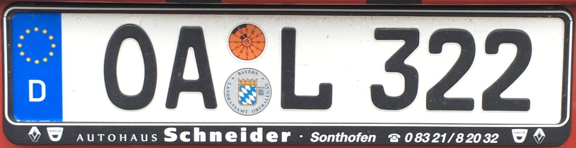 Registrační značka Německo - OA - okres Oberallgäu, foto: www.podalnici.cz