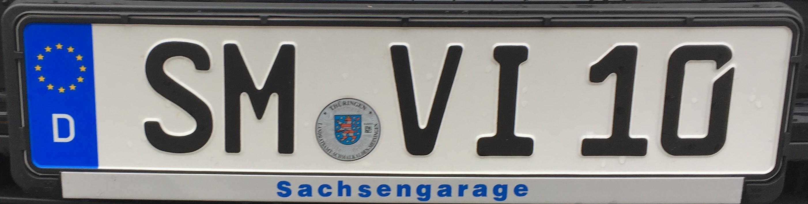 Registrační značka Německo - SM - Schmalkalden-Meiningen, foto: www.podalnici.cz