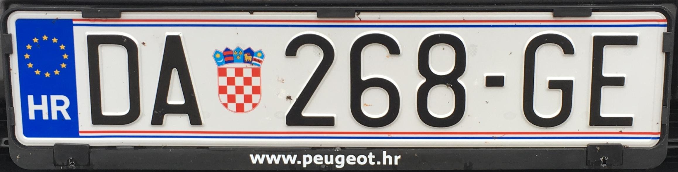 Registrační značka Chorvatsko - DA - Daruvar, foto: www.podalnici.cz