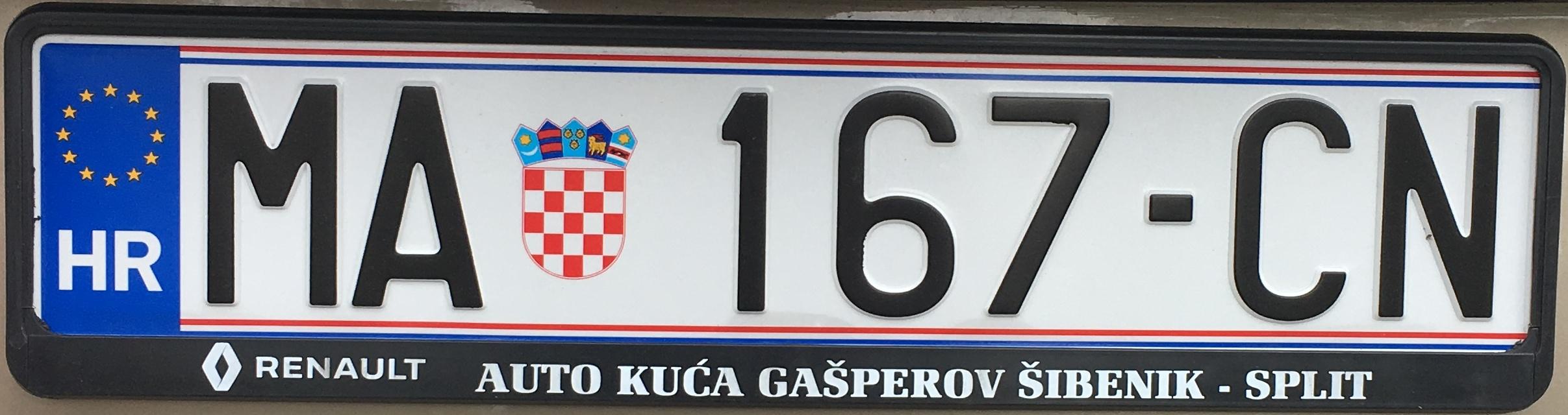 Registrační značka Chorvatsko - MA - Makarska, foto: www.podalnici.cz