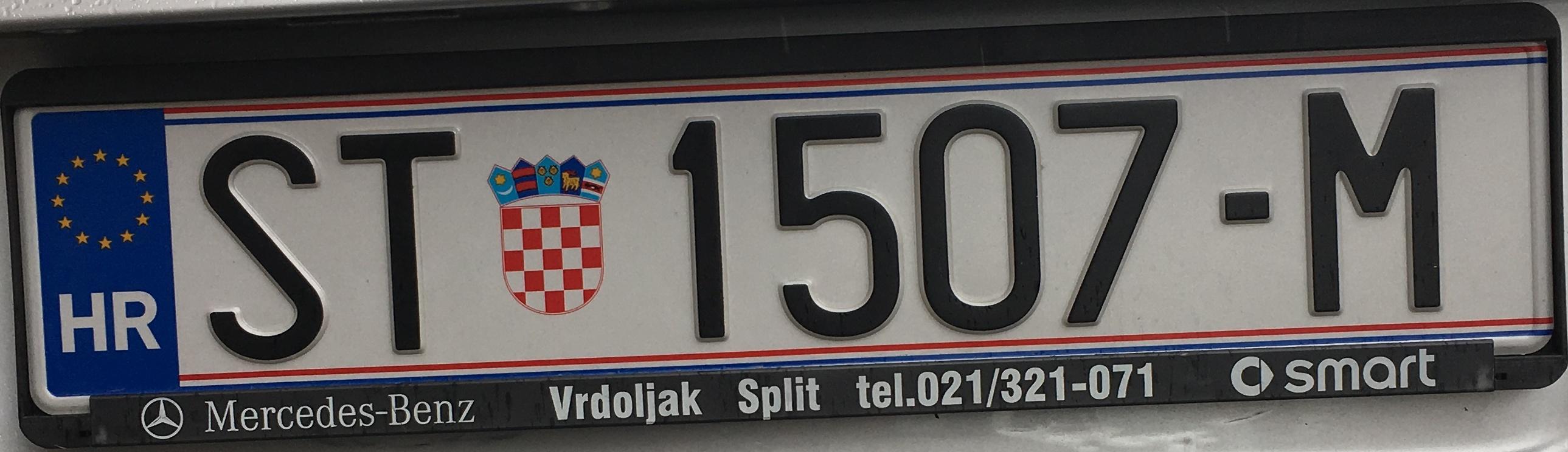 Registrační značka Chorvatsko - ST - Split, foto: www.podalnici.cz
