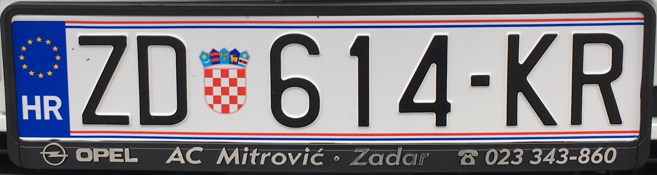Registrační značka Chorvatsko - ZD - Zadar, foto: www.podalnici.cz