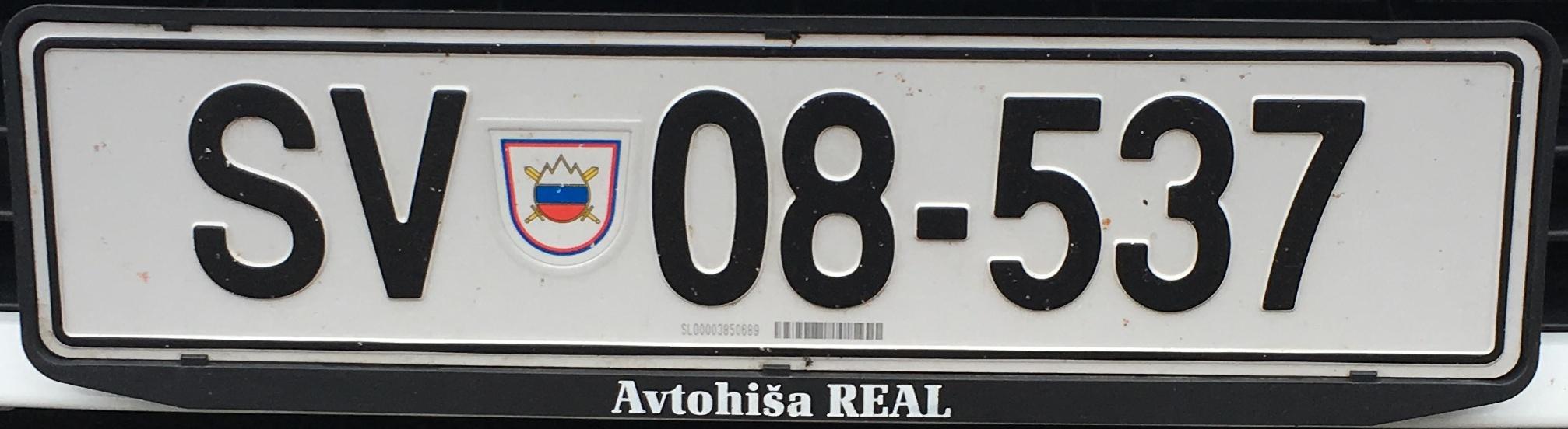 Registrační značka Slovinsko - armáda, foto: www.podalnici.cz