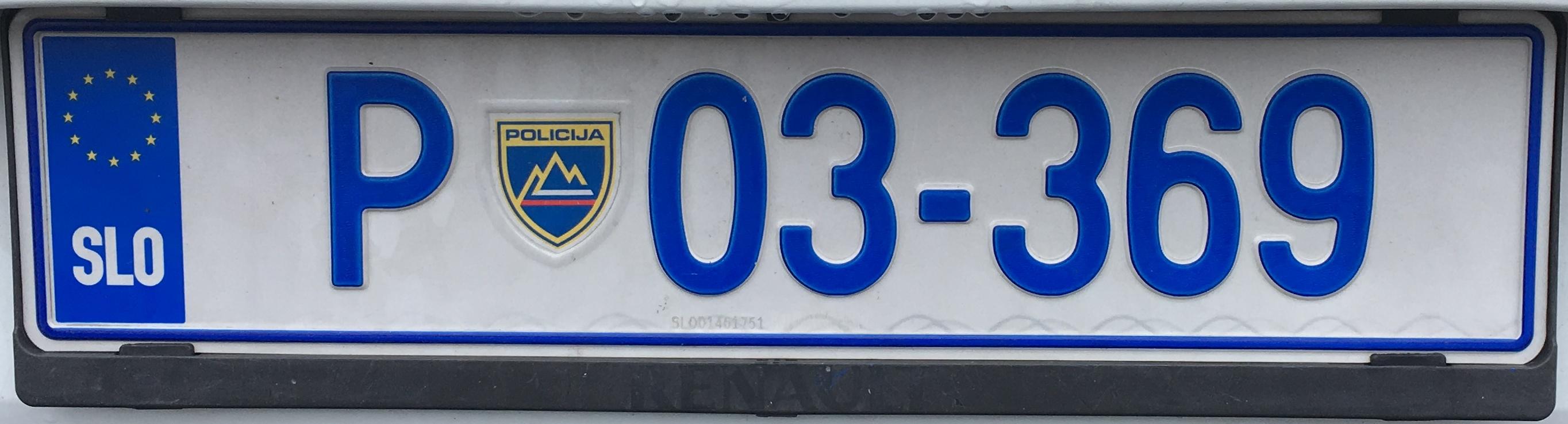 Registrační značka Slovinsko - policie, foto: www.podalnici.cz