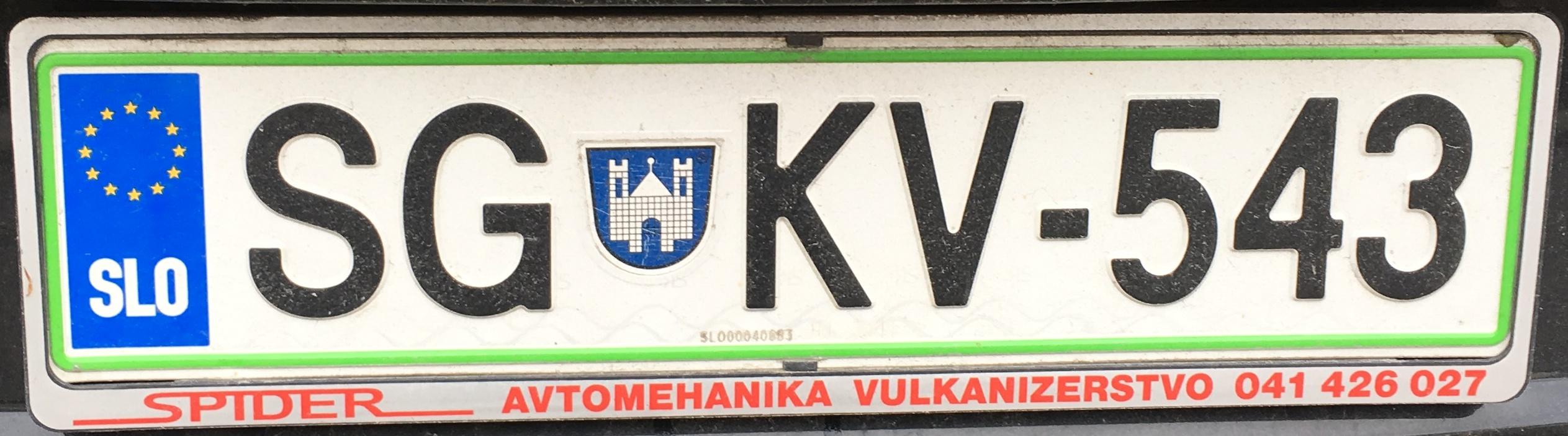 Registrační značka Slovinsko - SG - Slovenj Gradec, foto: www.podalnici.cz