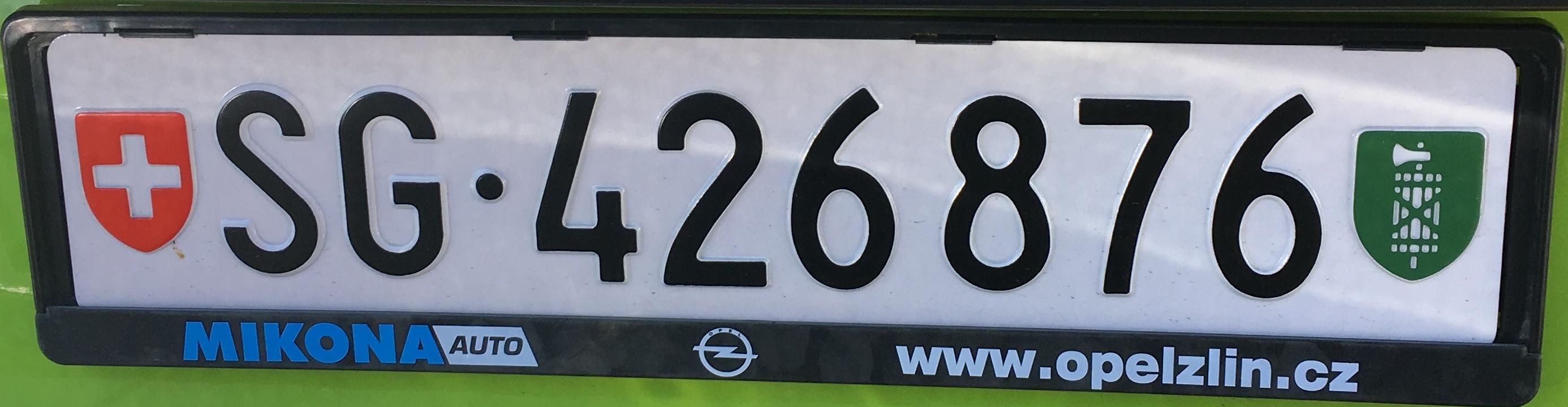 Registrační značky Švýcarsko – SG – St. Gallen, foto: www.podalnici.cz