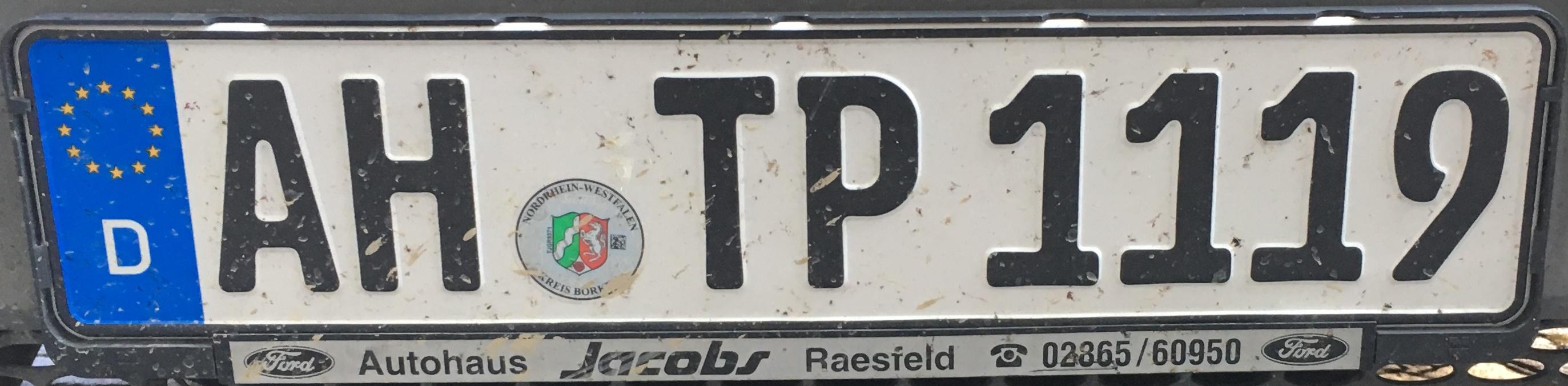 Registrační značka Německo – AH – Ahaus, foto: www.podalnici.cz