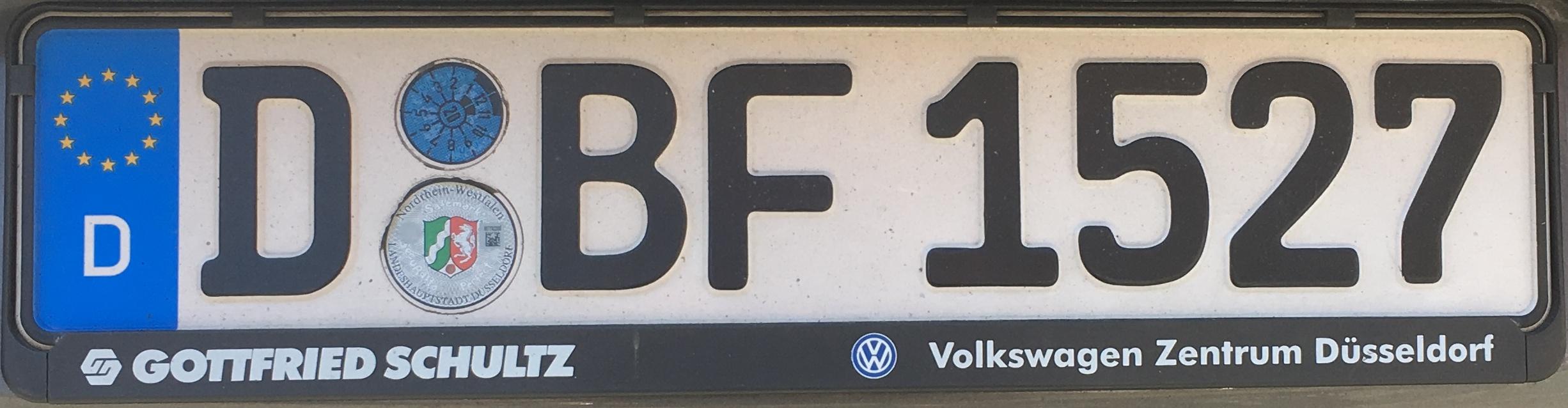 Registrační značka Německo – D – Düsseldorf, foto: www.podalnici.cz