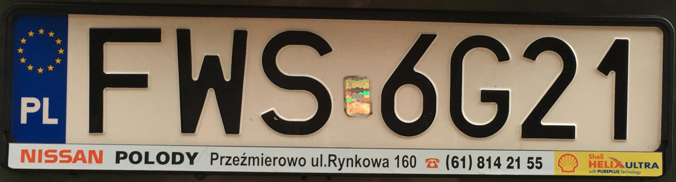 Registrační značka Polsko - FWS - Wschowa, foto: www.podalnici.cz