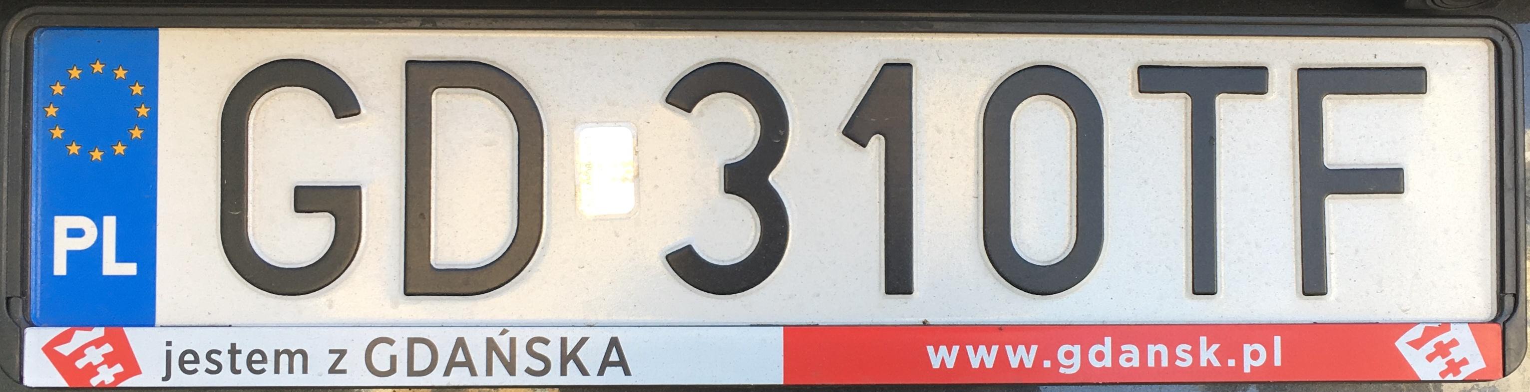 Registrační značka Polsko – GD – Gdańsk, foto: www.podalnici.cz