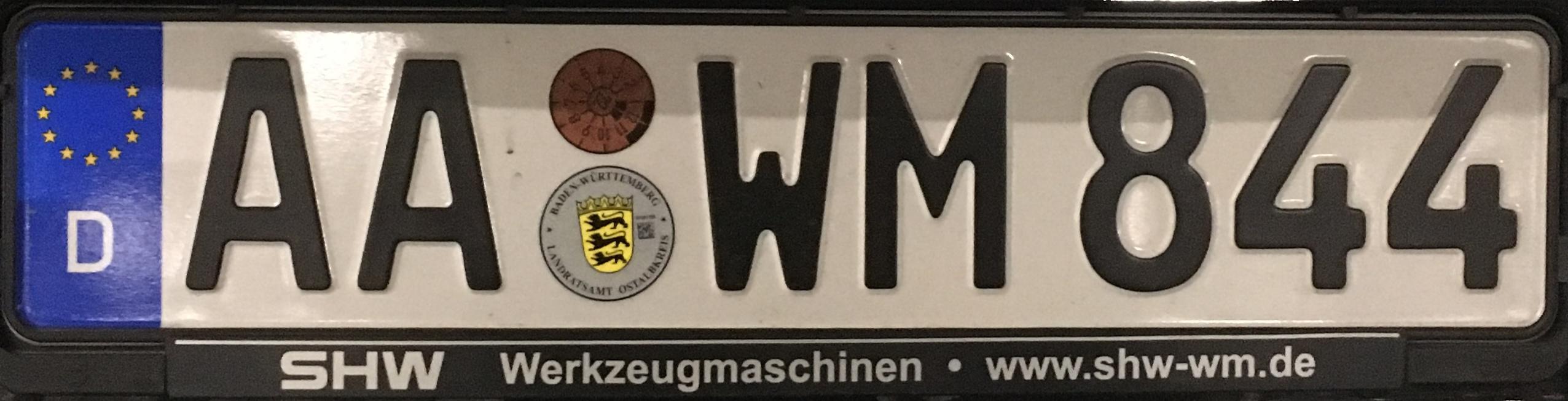 Registrační značka Německo - AA - Aalen, foto: www.podalnici.cz