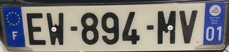 Francouzská registrační značka - 01 - Ain, foto: www.podalnici.cz