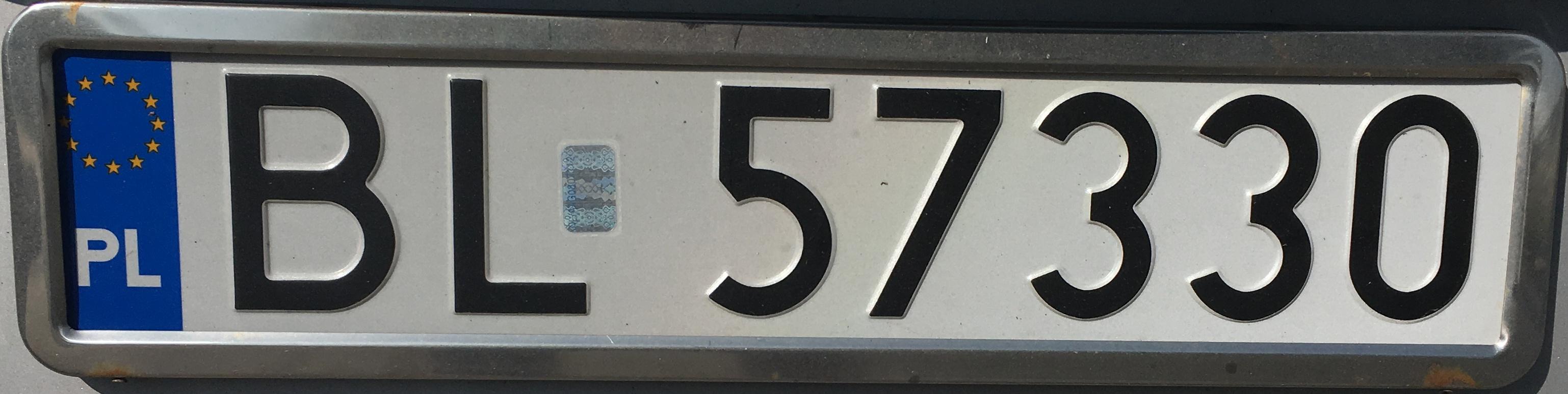 Registrační značka Polsko – BL – Łomża, foto: www.podalnici.cz