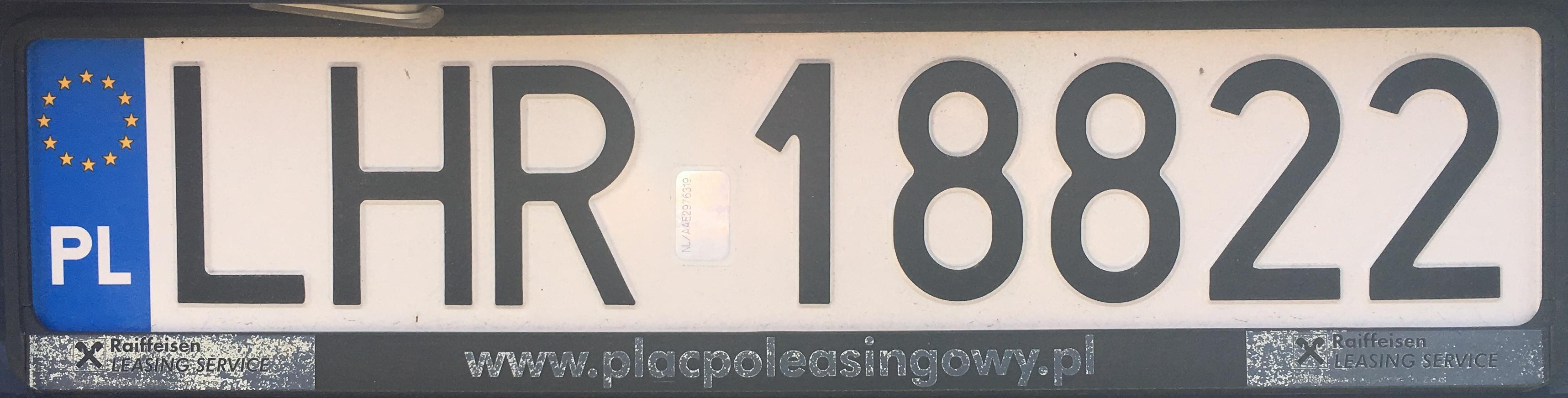 Registrační značka Polsko – LHR – Hrubieszów, foto: www.podalnici.cz
