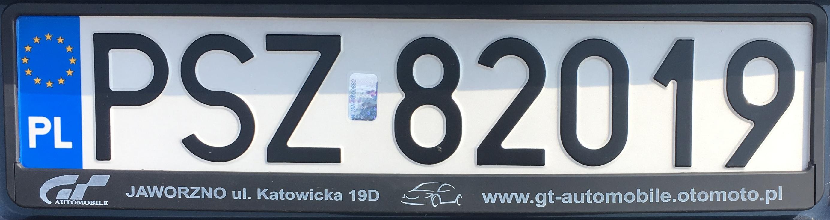 Registrační značka Polsko – PSZ – Szamotuły, foto: www.podalnici.cz