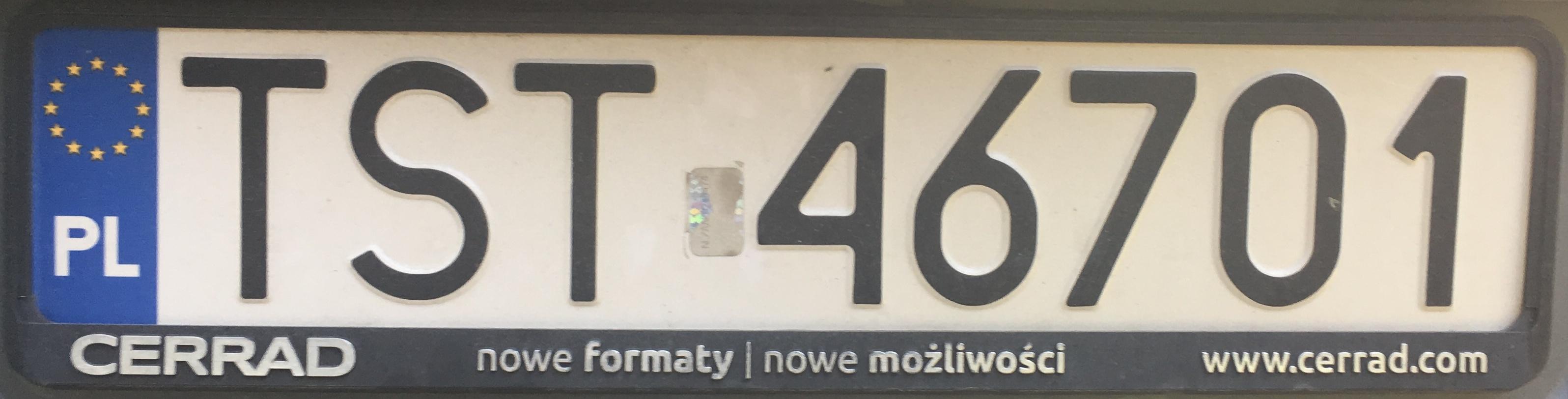 Registrační značka Polsko – TST – Starachowice, foto: www.podalnici.cz