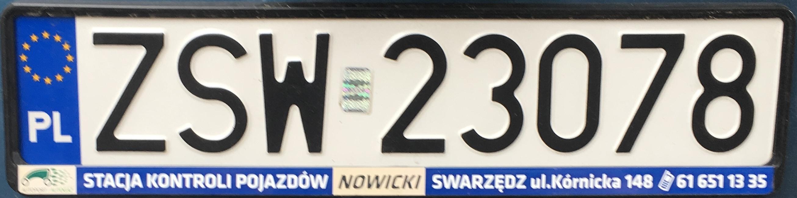 Registrační značka Polsko – ZSW - Świnoujście, foto: www.podalnici.cz