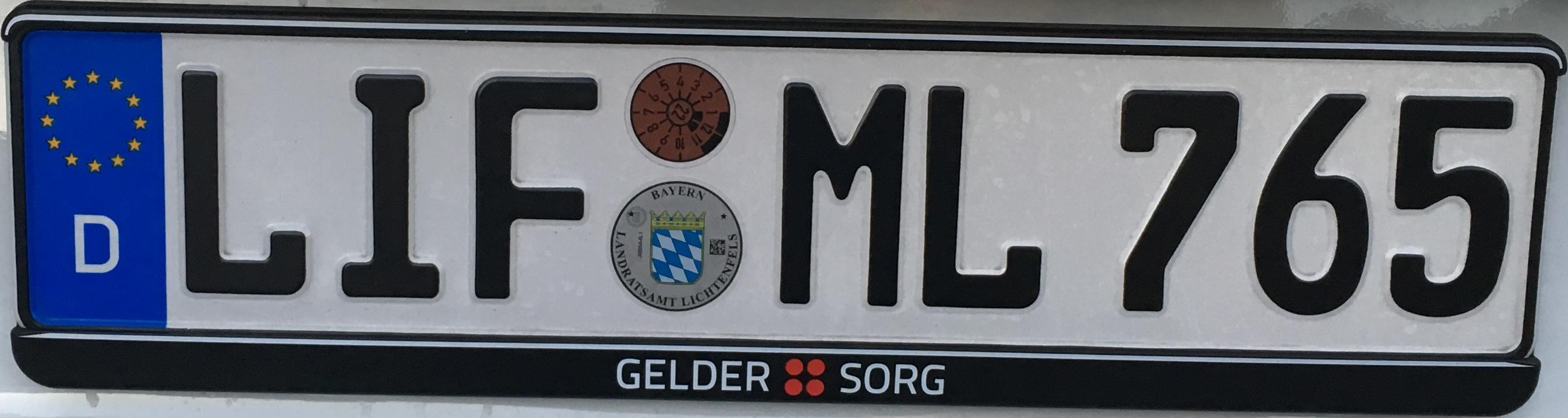 Registrační značky Německo - LIF - okres Lichtenfels, foto: www.podalnici.cz