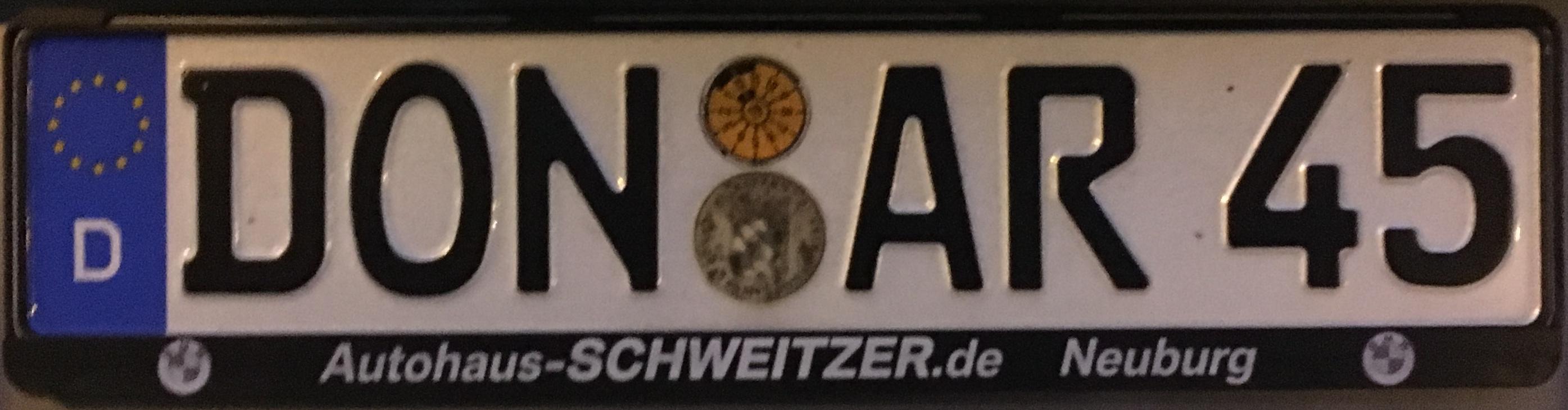 Registrační značky Německo - DON - Donau-Ries, foto: www.podalnici.cz