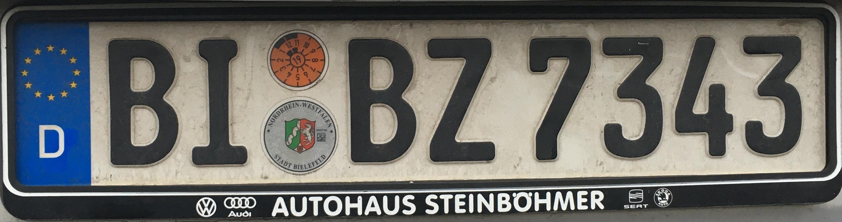 Registrační značky Německo - BI - Bielefeld, foto: www.podalnici.cz