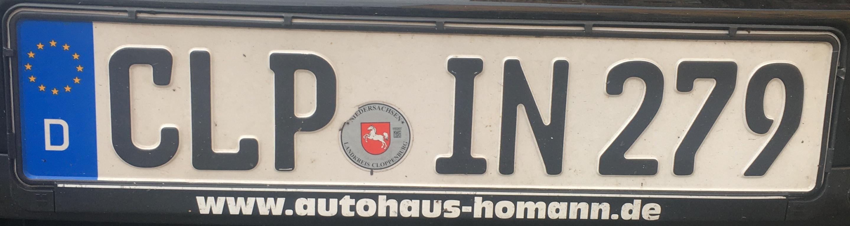Registrační značky Německo - CLP - Cloppenburg, foto: www.podalnici.cz