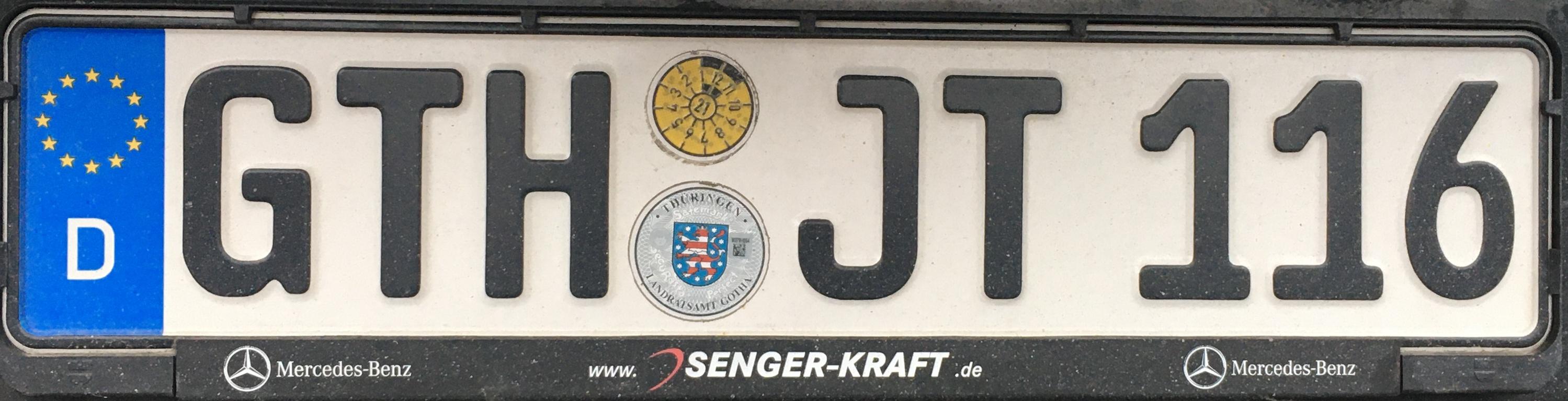 Registrační značky Německo - GTH - Gotha, foto: www.podalnici.cz