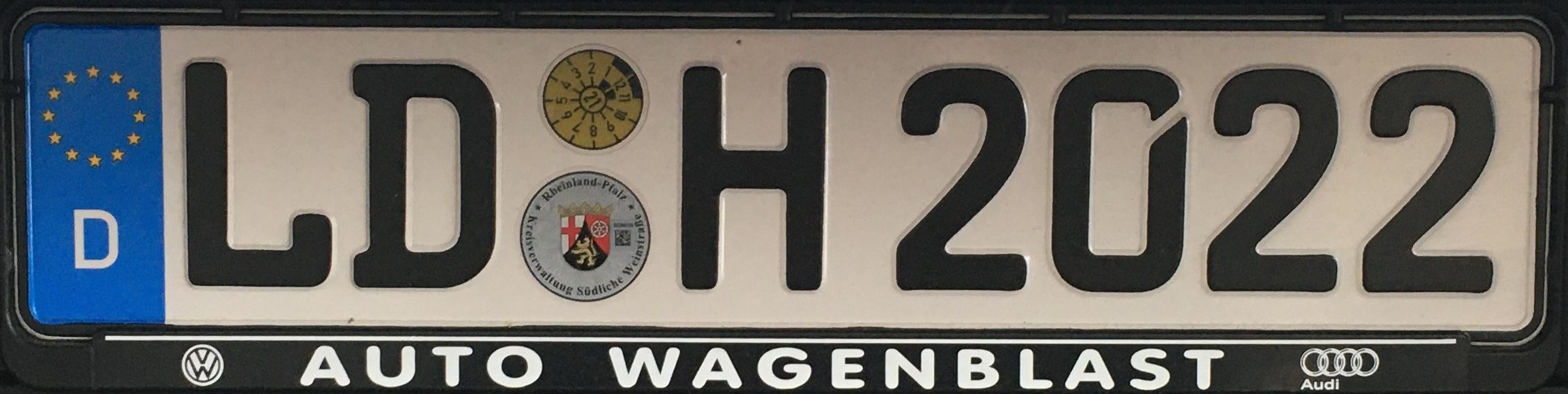Registrační značky Německo - LD - Landau in der Pfalz, foto: www.podalnici.cz