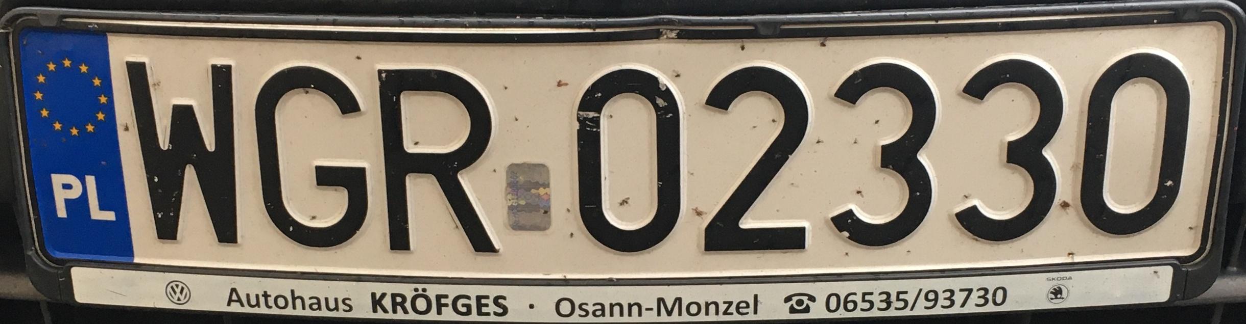 Registrační značka Polsko - WGR - Grójec, foto: www.podalnici.cz