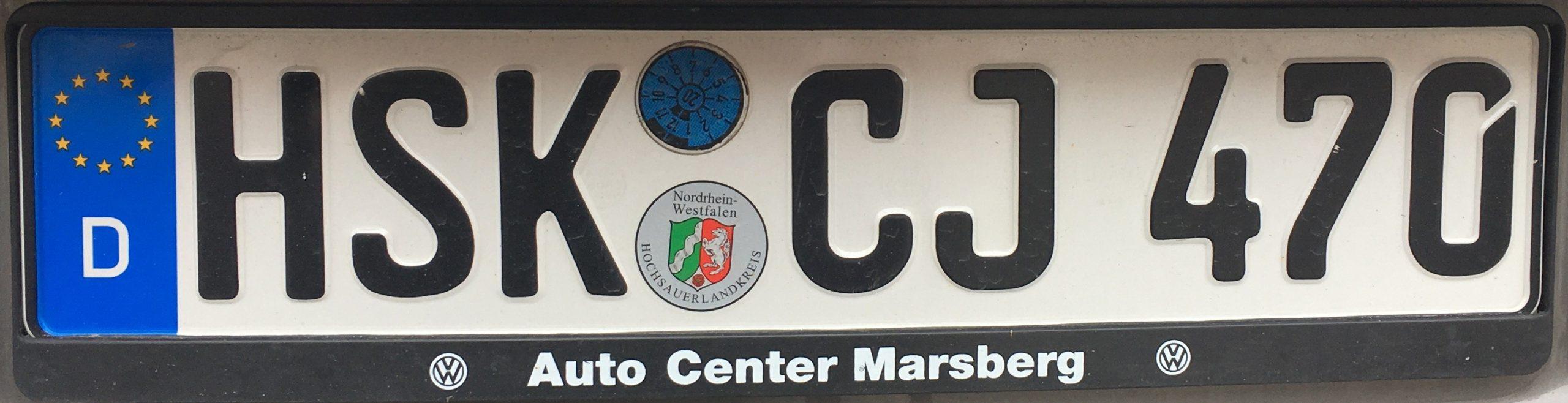 Registrační značky Německo - HSK - Hochsauerlandkreis, foto: www.podalnici.cz