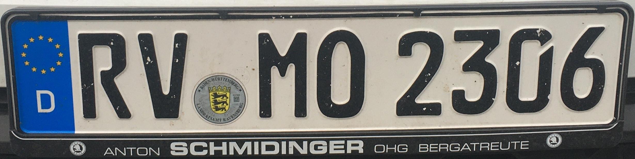 Registrační značky Německo - RV - Ravensburg, foto:www.podalnici.cz
